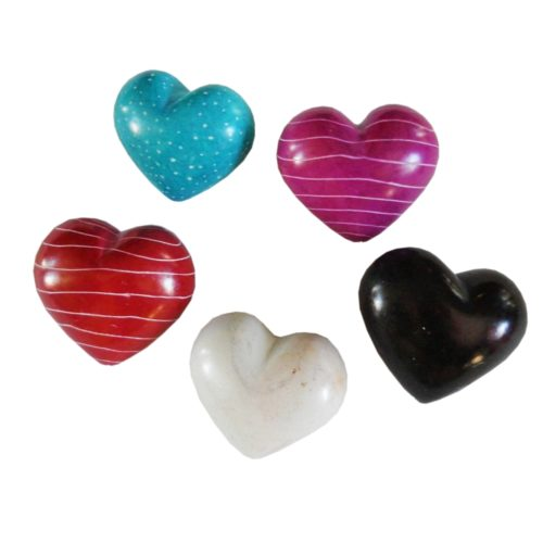 Hand Carved Stone Hearts Set