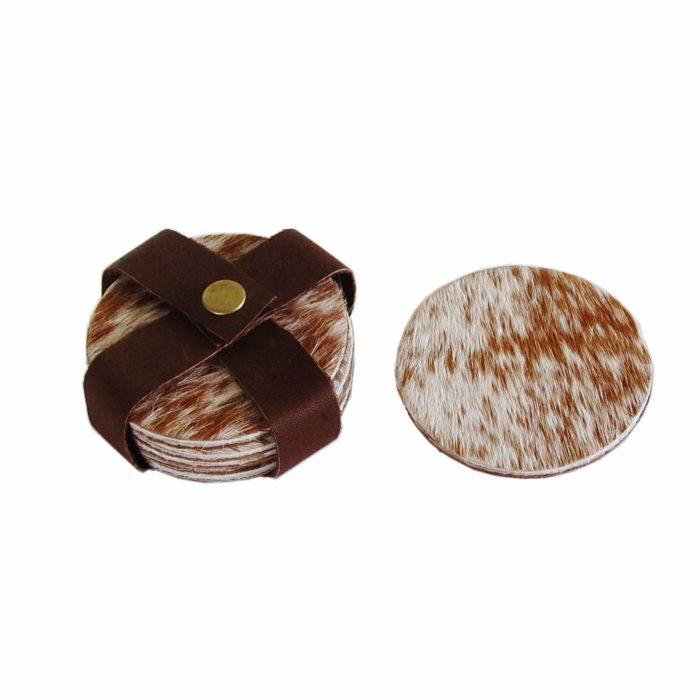 Nguni Hide Coasters Set - Brown and White