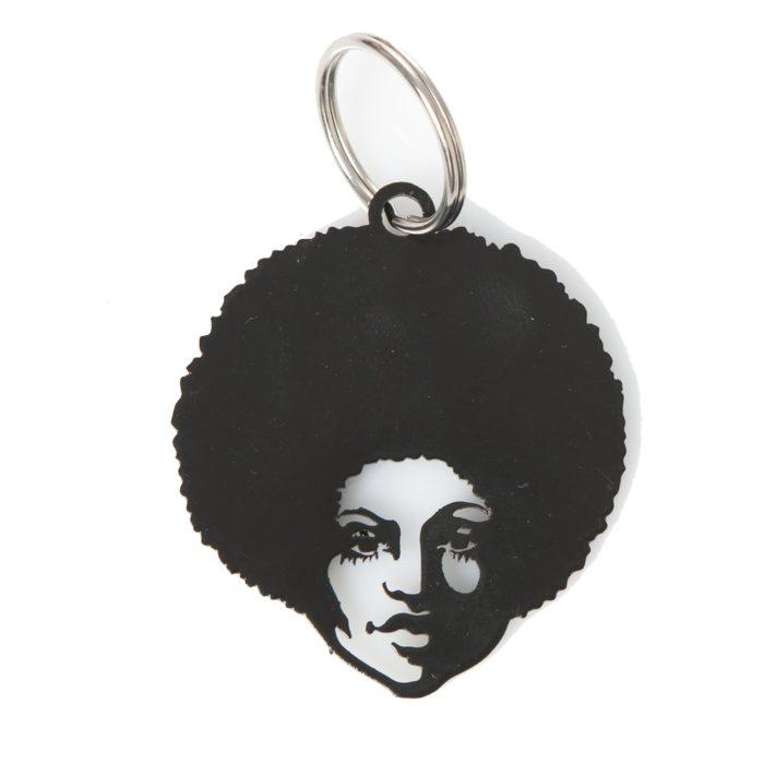 Keyring Afro Woman Black Metal