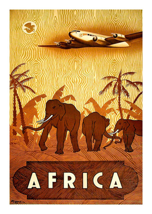 Africa Elephant Airplane Vintage