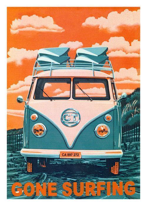 Gone Surfing Orange Poster