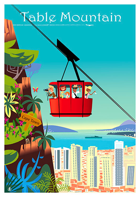 Table Mountain Cable Car Vintage Poster