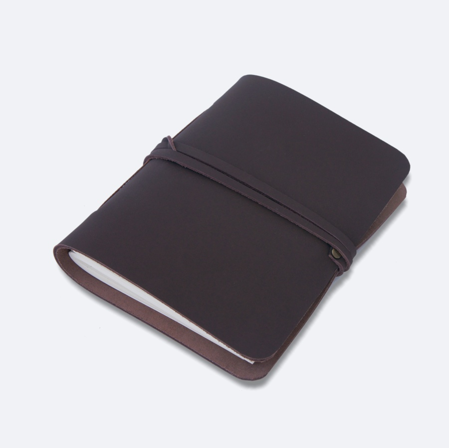 A6 Brown Leather Journal with blank pages