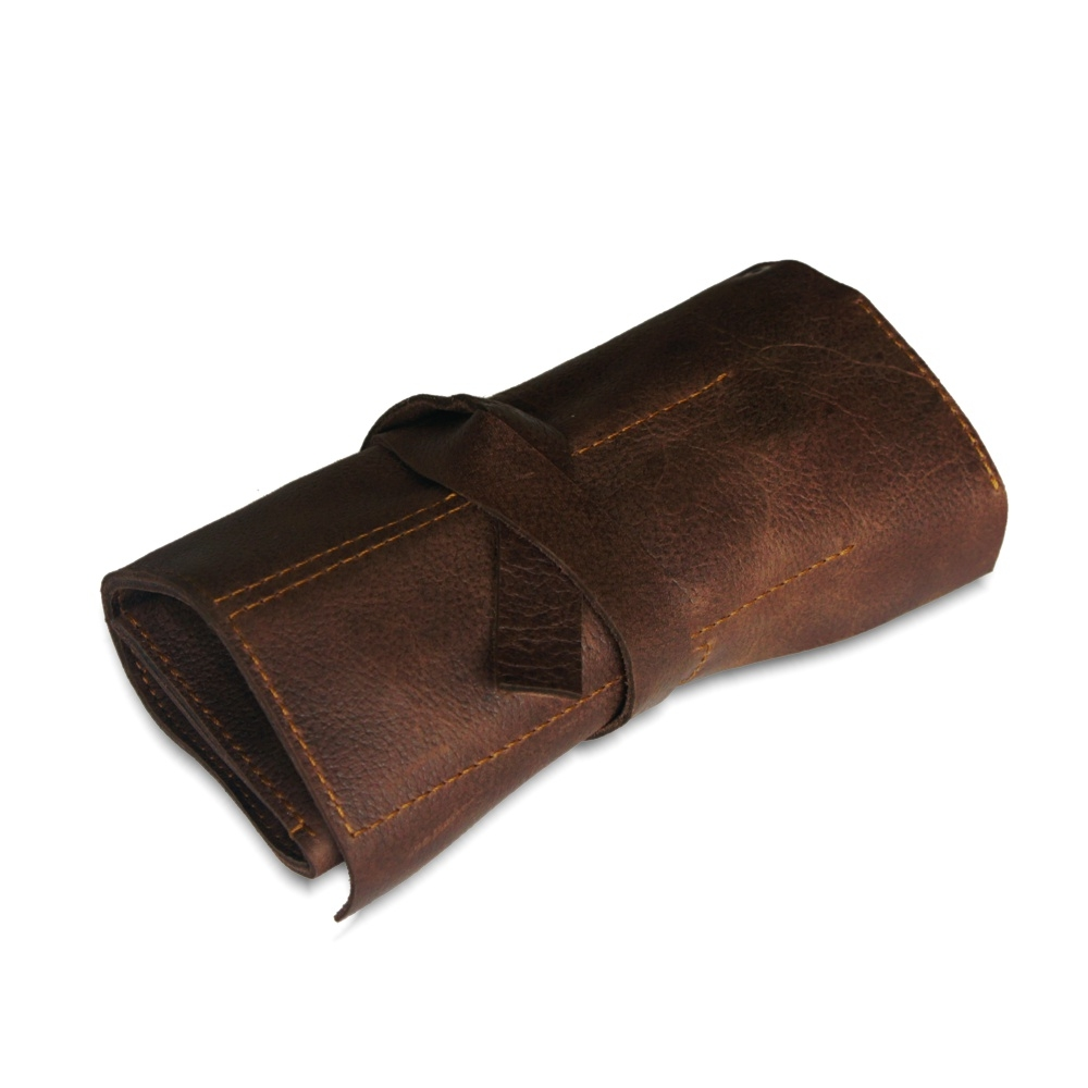 Rollable leather gadget holder