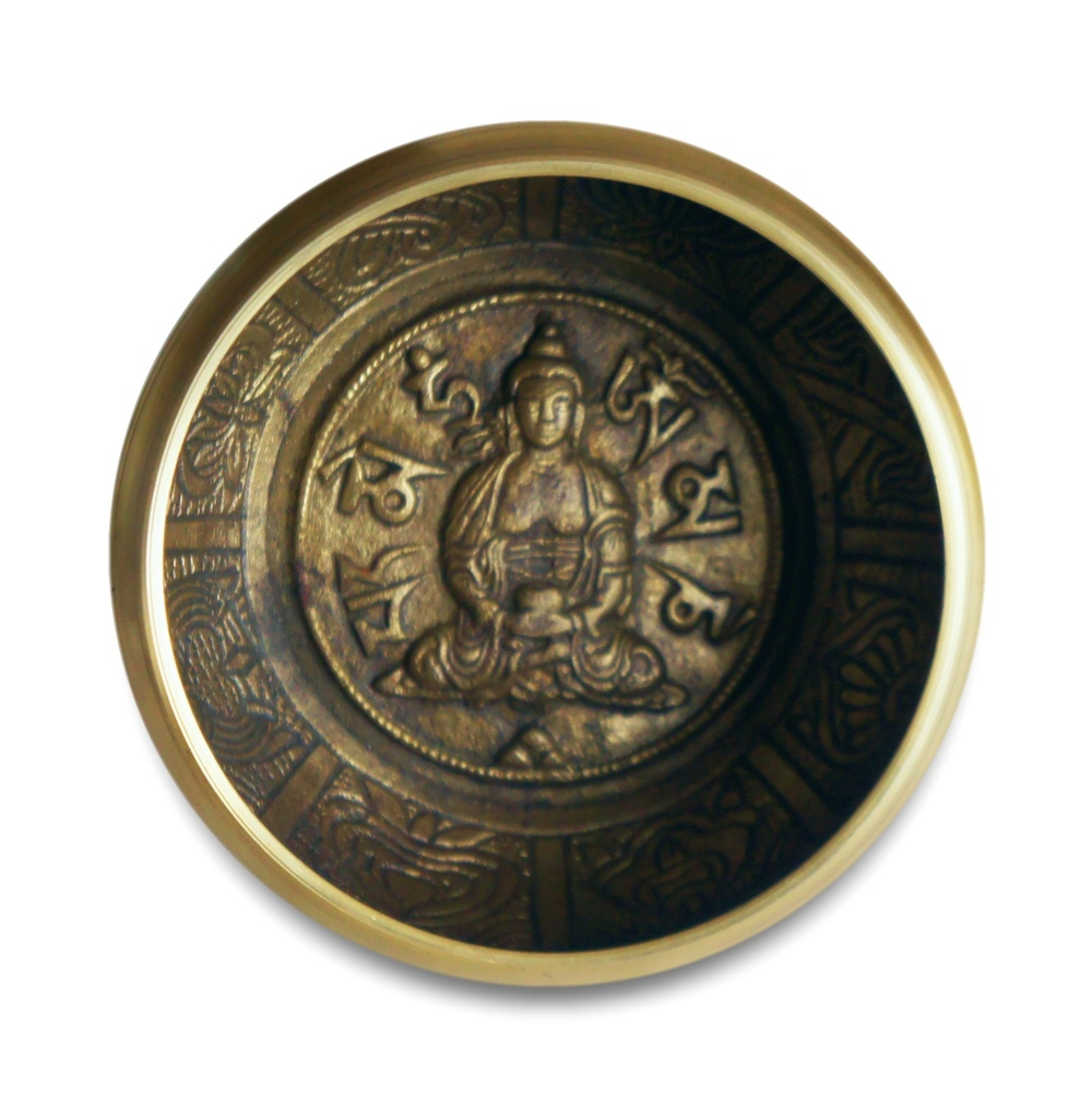 Medium Size Buddha Design on the inside of a copper singing bowl