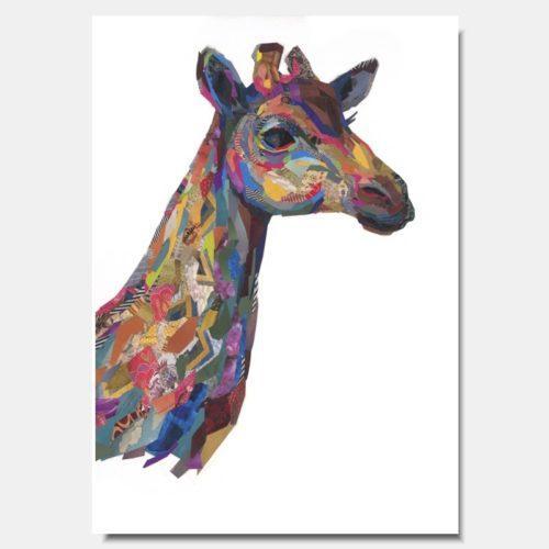 Giraffe Head Collage Prints by artist Zoe Mafham