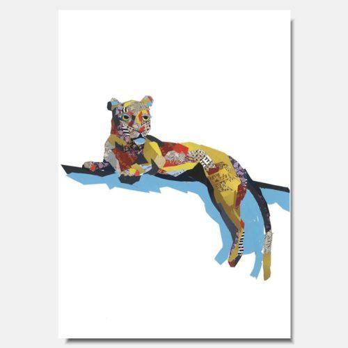 Leopard on Branch Collage Prints by artist Zoe Mafham