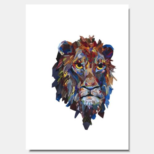 Lion Head Collage Prints by artist Zoe Mafham