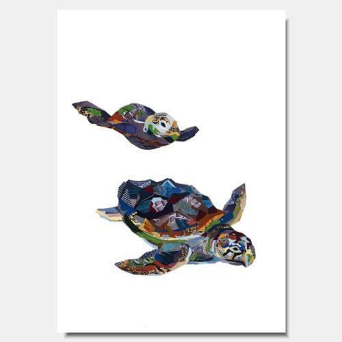 Sea Turtles Collage Prints by artist Zoe Mafham