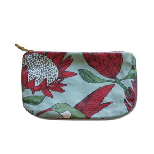 Coin Purse With Red Protea and Sugarbird Design