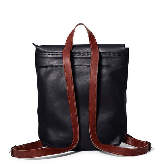 Antelo Henry Leather Backpack - Black & Barcelona Tan