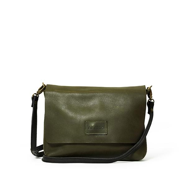 Antelo Jeanie XL Leather Crossbody Handbag - Olive & Black