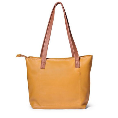 Antelo Emmy Leather Tote Bag with Zip - Mustard & Tan