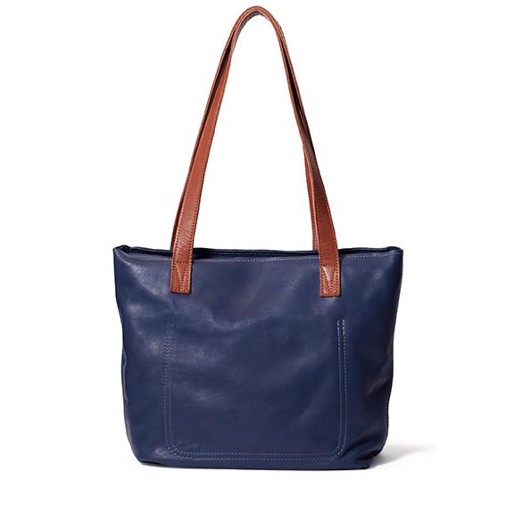 Antelo Emmy Leather Tote Bag with Zip - Navy & Tan