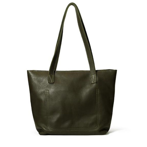 Antelo Emmy Leather Tote Bag with Zip - Olive
