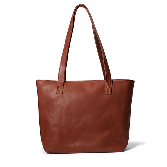 Antelo Emmy Leather Tote Bag with Zip - Tan