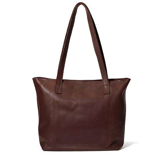 Antelo Emmy Leather Tote Bag with Zip Brown