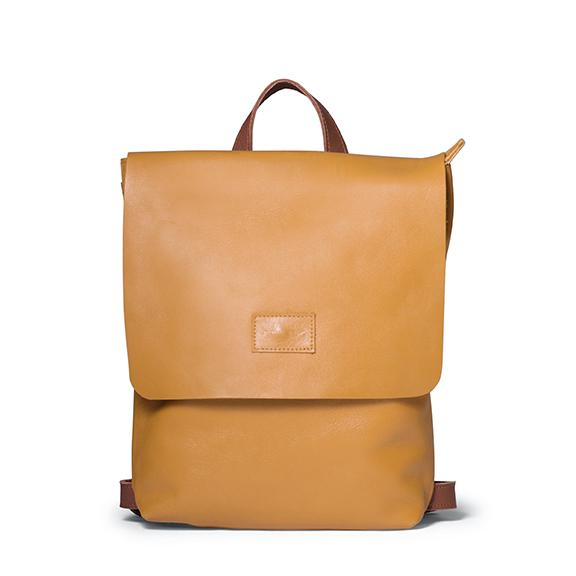 Antelo Henry Leather Backpack - Mustard and Tan Front