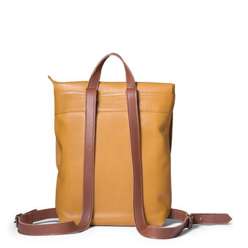 Antelo Henry Leather Backpack - Mustard and Tan Back