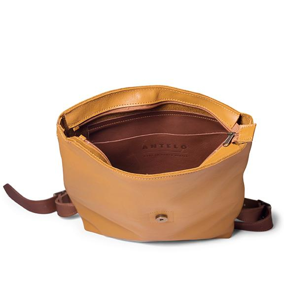 Antelo Henry Leather Backpack - Mustard and Tan Opened