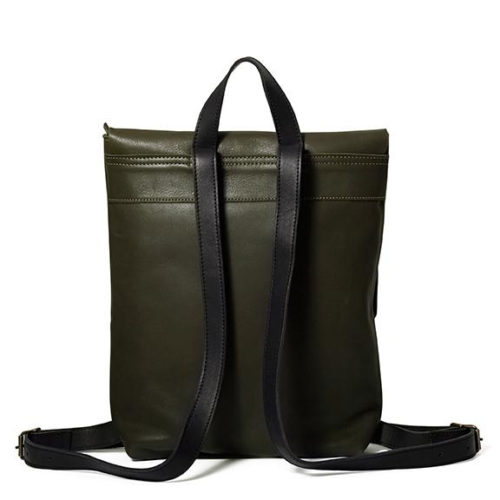 Antelo Henry Leather Backpack Olive & Black