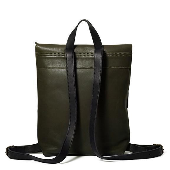 Antelo Henry Leather Backpack Olive & Black