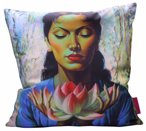 Lady with Lotus Cushion 50x50cm Cover