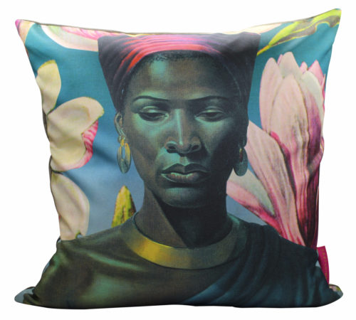 Tretchikoff Zulu Girl with Pink Magnolias Cushion Cover 50cm x 50cm