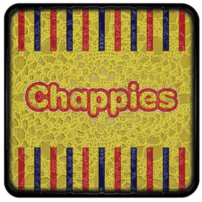 Buy a funky Chappies Coaster for protecting your furniture from drink spills
