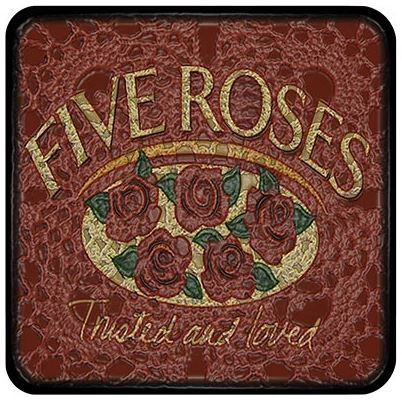 Buy a funky Five Roses Coaster for protecting your furniture from drink spills