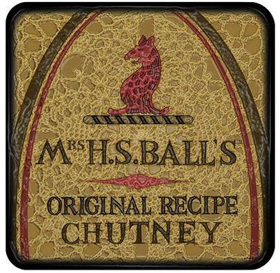 Buy a funky Mrs Balls Chutney Coaster for protecting your furniture from drink spills