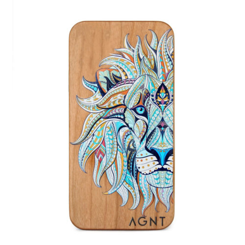 Glow in the dark lion Design wooden cellphone cover for the iphone, samsung or huawei