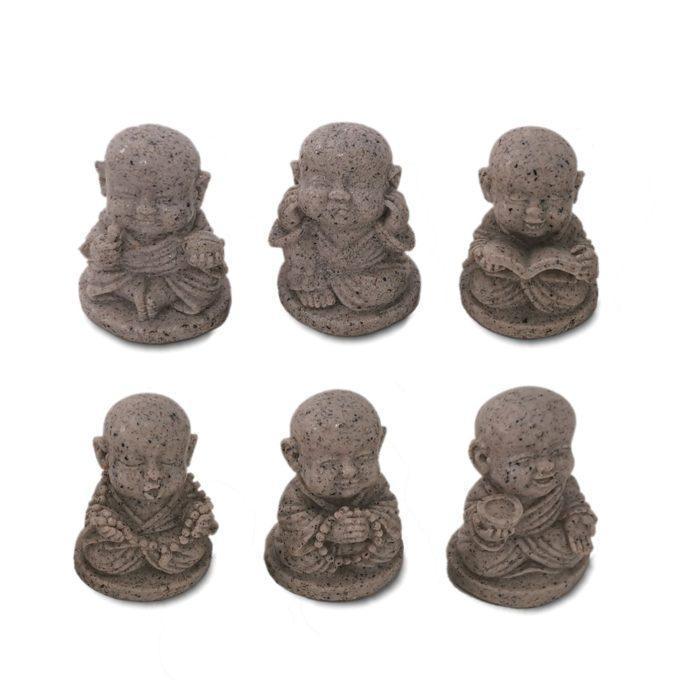 Buddhist Principles set of six buddhas 450 Respect Intelligence Diligence Patiece Meditation Charity 6cm