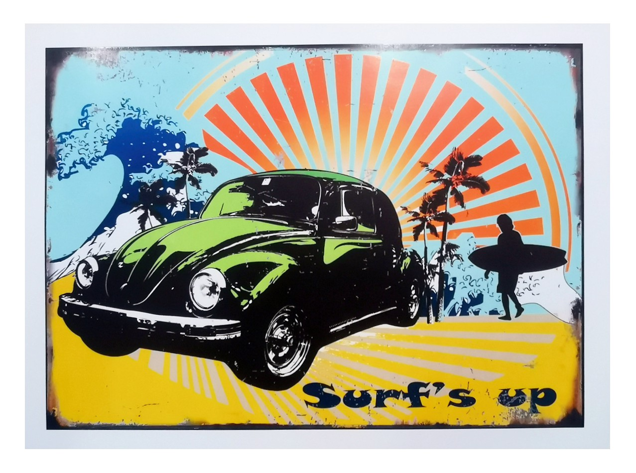 VW Beetle Surf's Up Poster