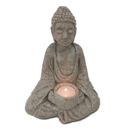 buddha statue with candle 470 made from cape town sea sand, crushed sand and crushed kelp and resin 23cm