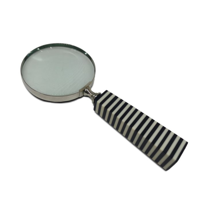 Magnifying Glass Striped Black and White Bone Handle